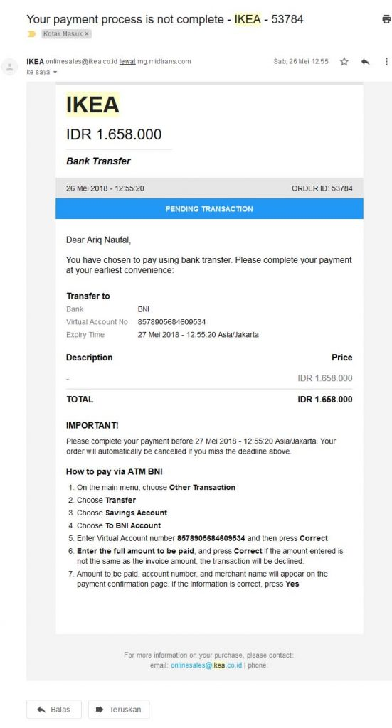 Invoice pembelian meja di IKEA Alam Sutera